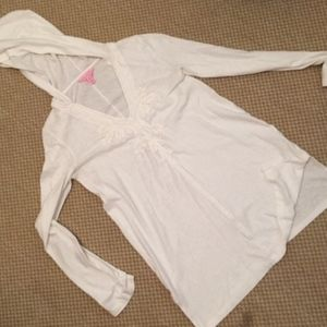 Lily Pulitzer White Hooded Tunic/Cover Up  Medium
